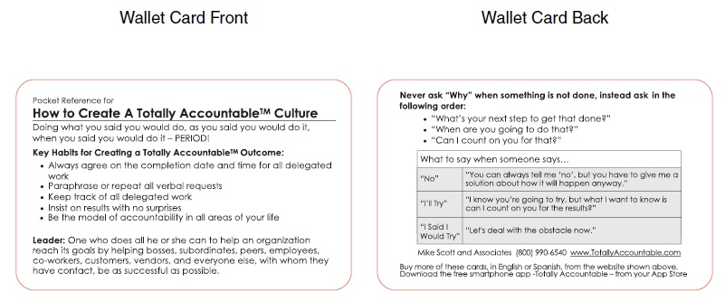 Accountability Reference Card ENGLISH